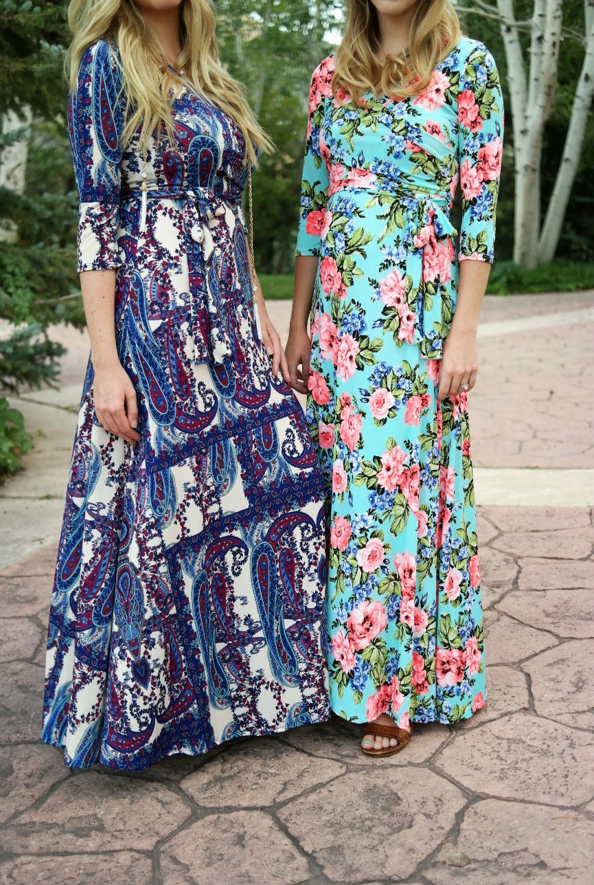 pink blush maternity wrap dress, nursing dress, printed wrap dress, floral maxi dress, paisley maxi dress