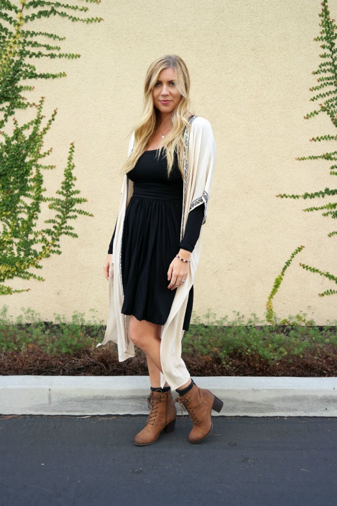 black dress, kimono cardigan, combat boots, mom style, mom outfit, mom look