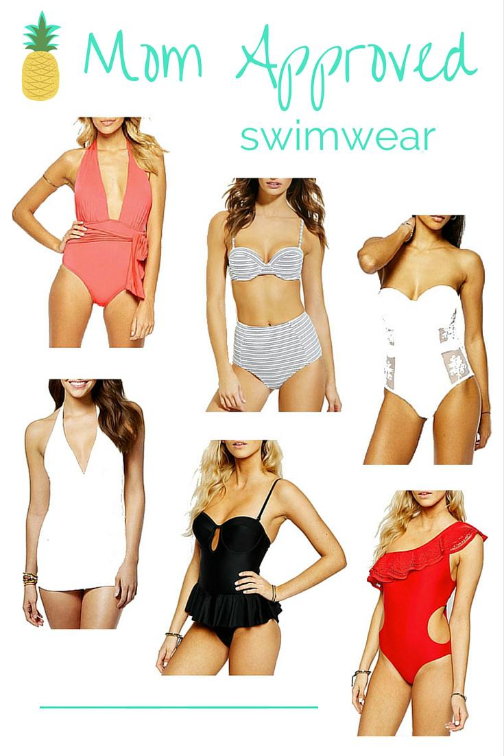 flattering swimwear for moms, peplum swimwear, high waisted bikini, mesh panel swimwear, swimdress, modest swimwear, plunging neckline swimwear