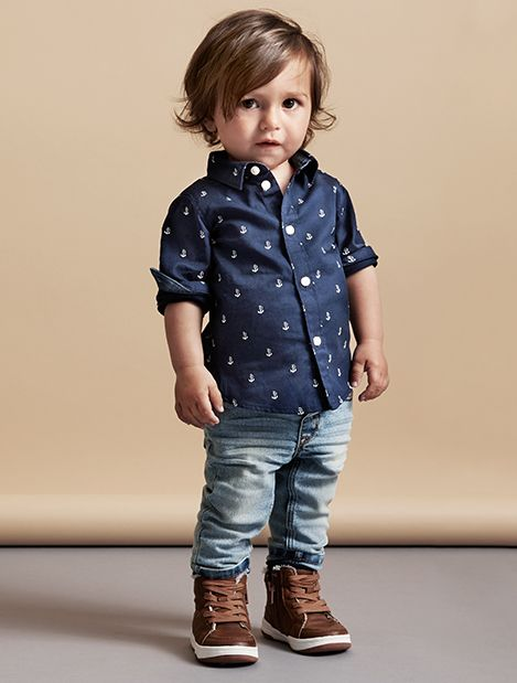 Little Boy Patterned Collared Shirt